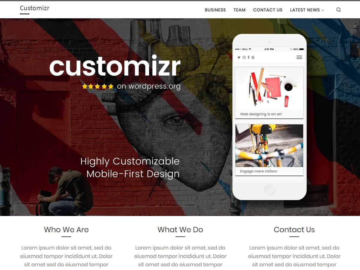 Customizr è un tema pulito e responsivo